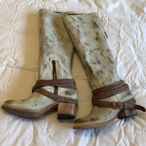 Freebird white distressed leather boots